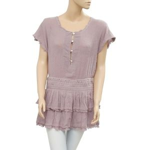 Free People Smocked Tiered Button Tunic Top M